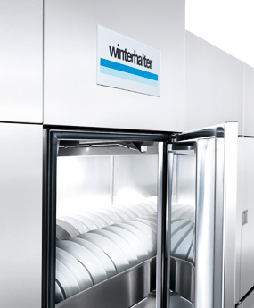 Hygiene doors on the Winterhalter conveyor dishwashers