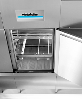 Hygiene doors on Winterhalter conveyor dishwasher